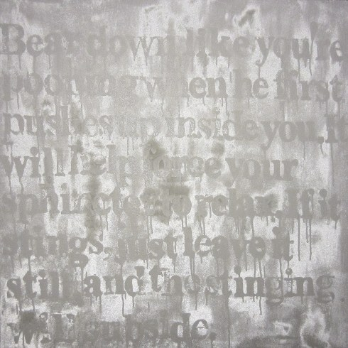 Devon Britt-Darby, Received Wisdom (Bear Down), 2013. Glass microspheres, acrylic and enamel on canvas.