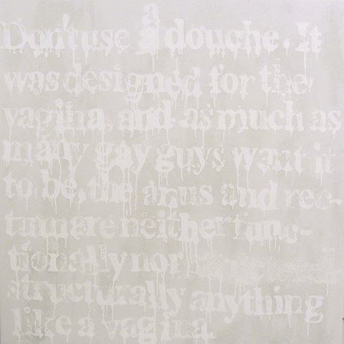 Devon Britt-Darby, Received Wisdom (Don't Douche), 2013 (photographed in ambient light). Glass microspheres, acrylic and enamel on canvas.