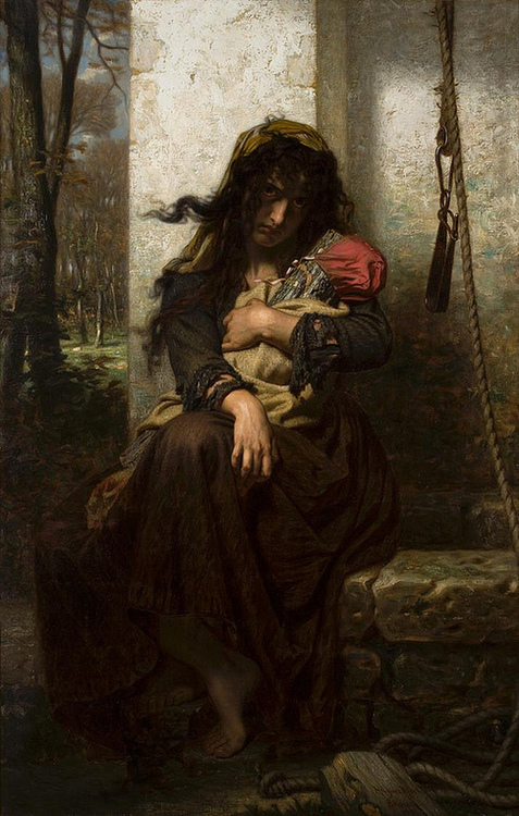 Hugues Merle, French, (1823-1881).  The Lunatic of Étretat, 1871. Oil on canvas. Chrysler Museum of Art, Norfolk, Virginia.  Museum purchase with additional funds from Landmark Communications 2009.13