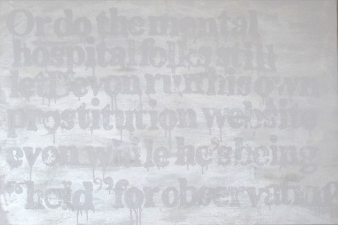"Devon Britt-Darby, ""woodlawn, HooBoy's Male4Male Escort Review (Hospital Folks), 2013 (View No. 1). Acrylic, glass microspheres and enamel on canvas"
