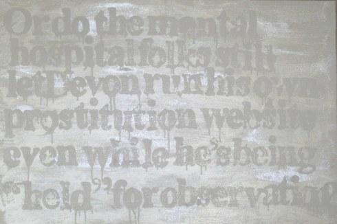 "Devon Britt-Darby, ""woodlawn, HooBoy's Male4Male Escort Review (Hospital Folks), 2013 (View No. 2). Acrylic, glass microspheres and enamel on canvas"