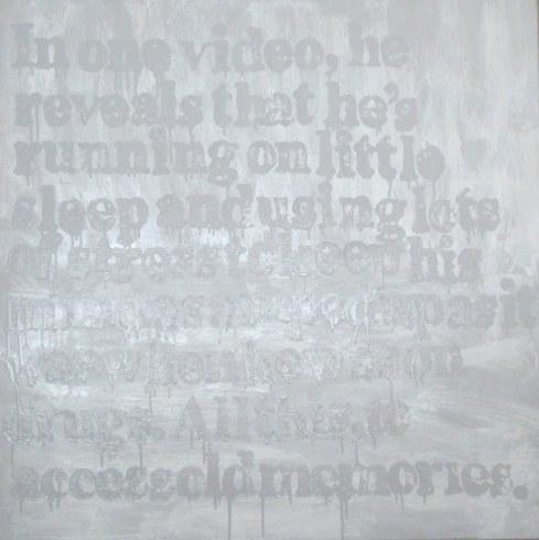 "Devon Britt-Darby, ""Paddy Johnson, Art Fag City (Old Memories),"" 2013. Acrylic, glass microspheres and enamel on canvas"