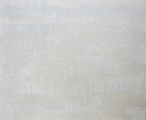 "Devon Britt-Darby, ""Peter Simek, Salon,"" 2013. Acrylic, glass microspheres and enamel on canvas"