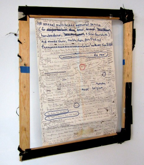 Devon Britt-Darby, 'Medline, Your Personal Bath Mat – Reorder No. NON24318,' 2004/2013 Ink, magic marker, gauze and tape on paper; linen hinges, wood stretchers with remants of canvas, staples and blue painter's tape; metal hinges with duct tape