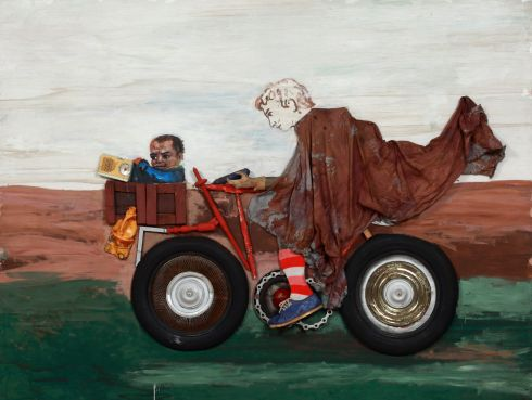 Antonio Berni, Juanito con la moto, c. 1972, oil, wood, and fabrics including glued cotton and sock; shoe; industrial trash including radio components, rubber tires, and plastic containers; metals including a chain and sheet metal, nails, and staples on wood, Private Collection. © José Antonio Berni